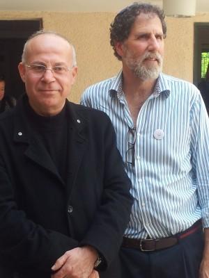 Rabbi Arik W. Ascherman Rabbis for Human Rights järjestöstä sekä Naseem Muallem Palestinian Center for Peace and Democracy